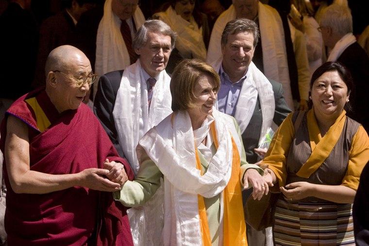 Image: Tibetan spiritual leader the Dalai Lama, US House Speaker Nancy Pelosi and Vice Speaker of Tibetan Government in exile Dolma Gyar