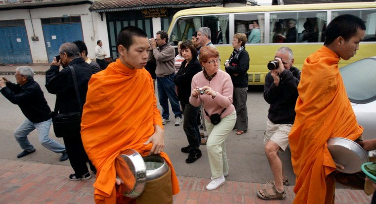 Image: Tourists in Asia, monks