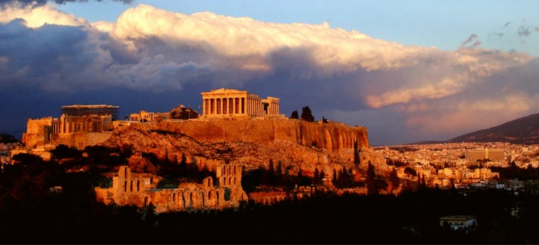 Image: The ancient Parthenon temple,  in the Acropolis hill.