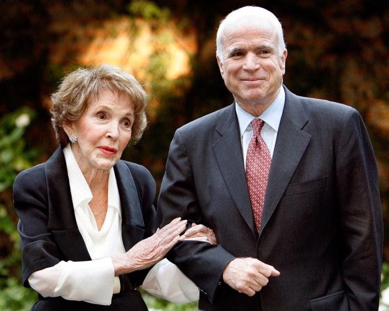 Image: Former first lady Nancy Reagan speaks next to U.S. Republican presidential candidate Senator John McCain