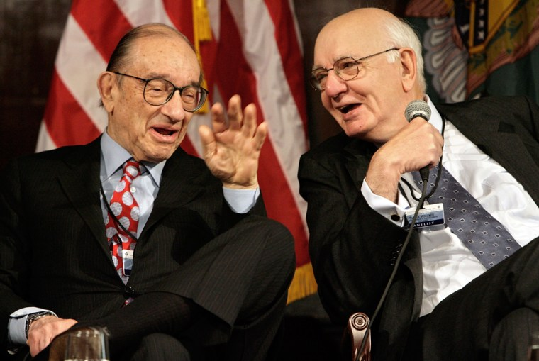 Image: Former Federal Reseve System chairmen Alan Greenspan and Paul Volcke