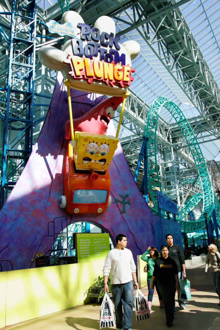 Image: Visitors near the SpongeBob SquarePants Rock Bottom Plunge roller coaster at the Mall of America's Nickelodeon Universe