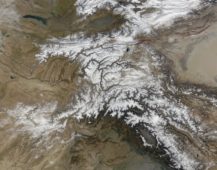 This satellite view shows Afghanistan's Hindu Kush mountains, where glaciers are melting at an alarming rate, a U.S. researcher said Monday.