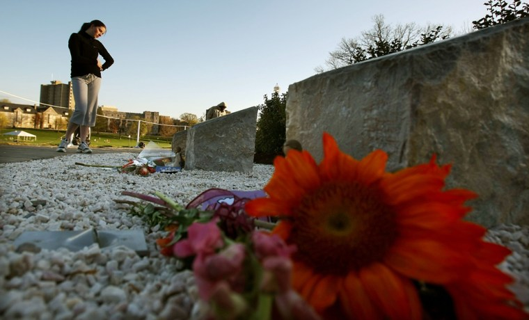 Image: Student Jennifer Ortolani visits a memorial.