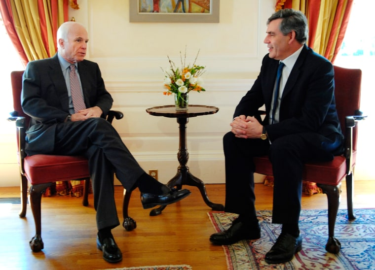 Image: John McCain meets with Britain's PM Gordon Brown