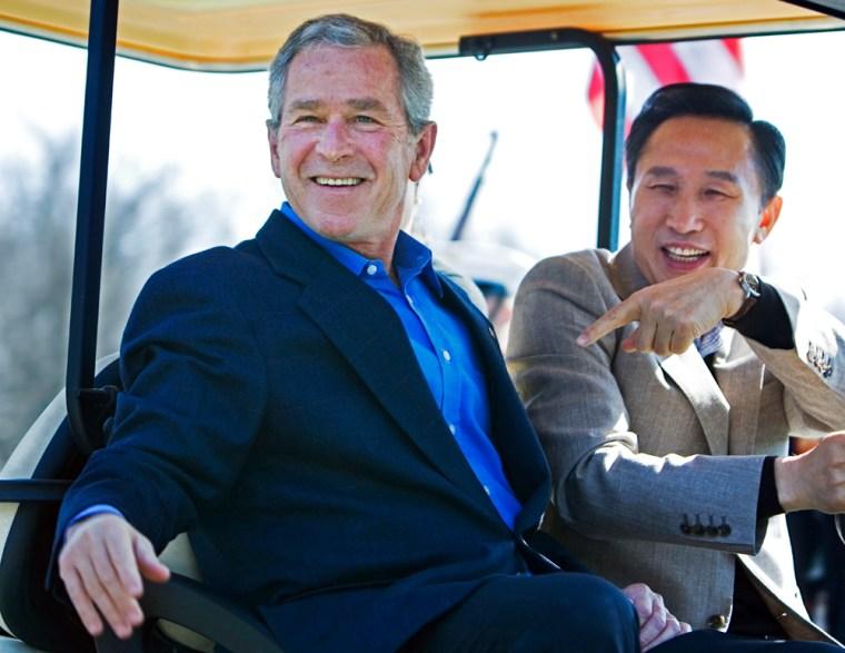Image: George Bush, Lee Myung Bak