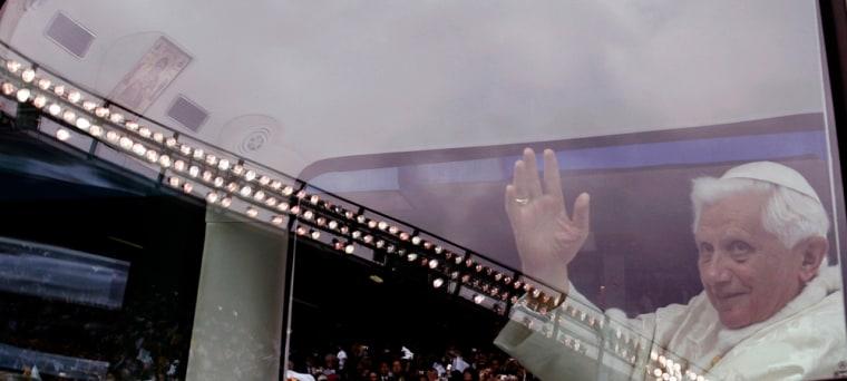 Image: Pope Benedict XVI arrives to celebrate Mass at Yankee Stadium in New York