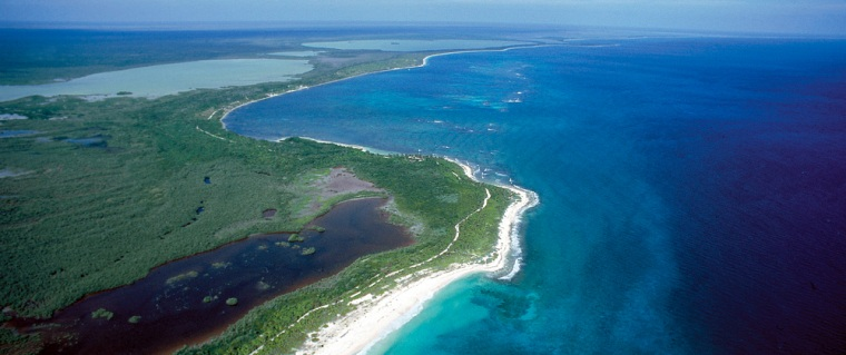 Image: Aerial view of the Sian Ka'an Biosphere Rufuge on the Yucatan peninsula