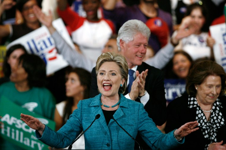 Image: Senator Clinton addresses supporters at her Pennsylvania primary election night rally in Philadelphia