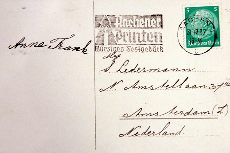 Christmas card written by Anne Frank discovered