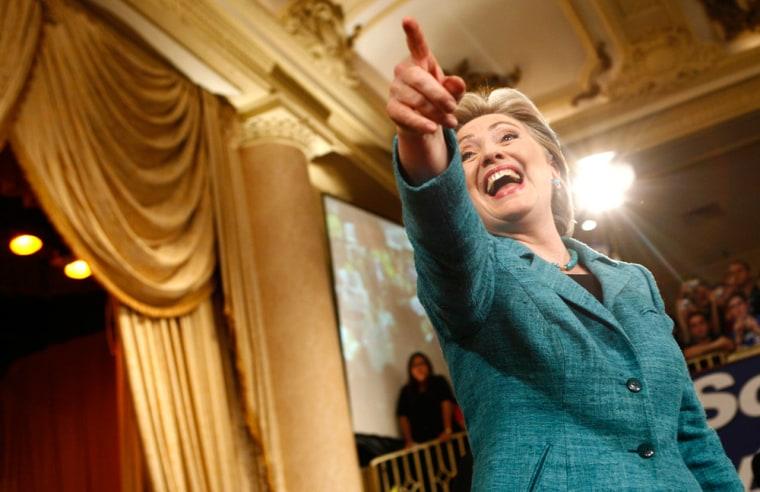 Image: US Democratic presidential candidate Senator Clinton celebrates her win in Philadelphia.
