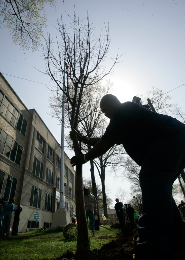 A member of the city parks and grounds department plants a tree at Ivy Hill Elementary School in Newark, N.J.,during anEarth Day ceremony on Wednesday.