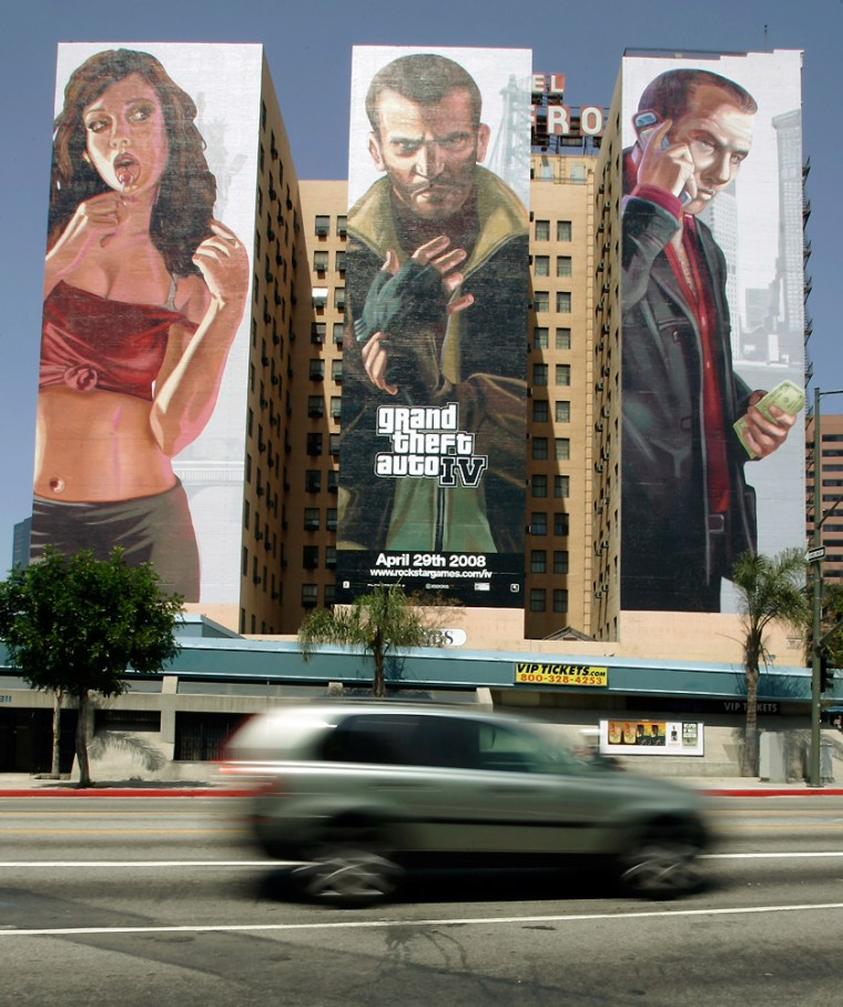 """Three 10-story high murals promoting the debut of the computer game GTA Grand Theft Auto IV are seen on the Figueroa Hotel in downtown Los Angeles. The road to """"Grand Theft Auto IV"""" has been less ballyhooed than last year's over-the-top """"Halo 3"""" debut."""