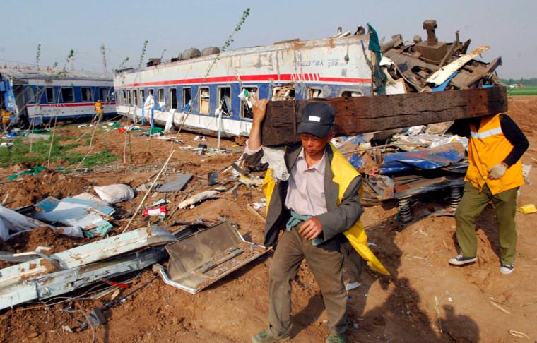 Image: China train crash