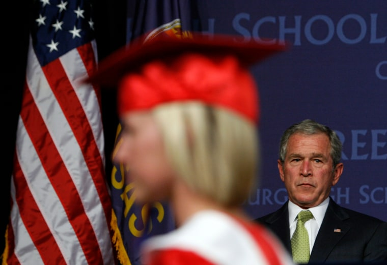 U.S. President Bush takes part in graduation ceremony at Greensburg High School in Greensburg, Kansas