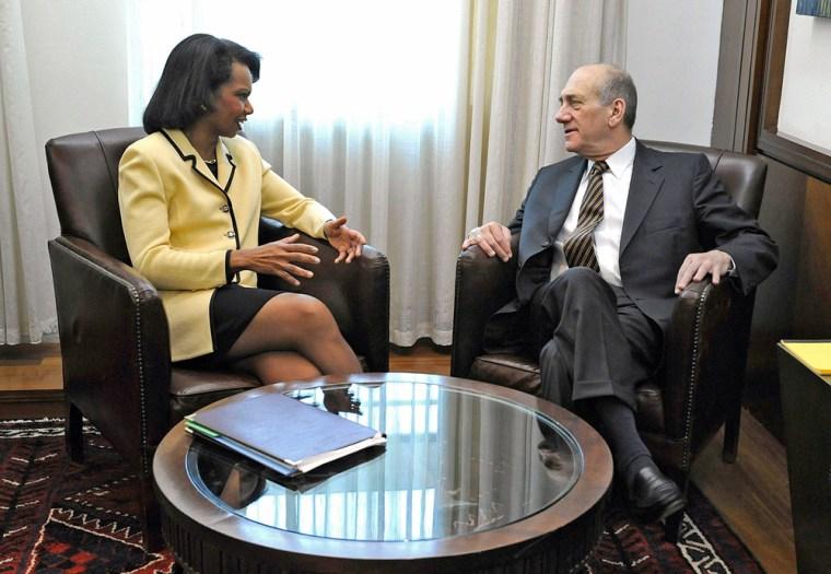 Image: Ehud Olmert, Condoleezza Rice