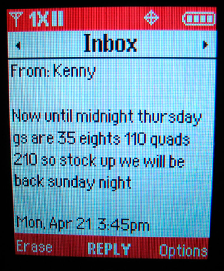 Image: Text message stating drug prices