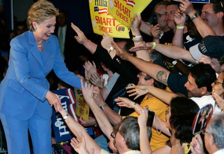Image: US Democratic presidential candidate Clinton greets supporters at her North Carolina and Indiana primary election night rally in Indianapolis