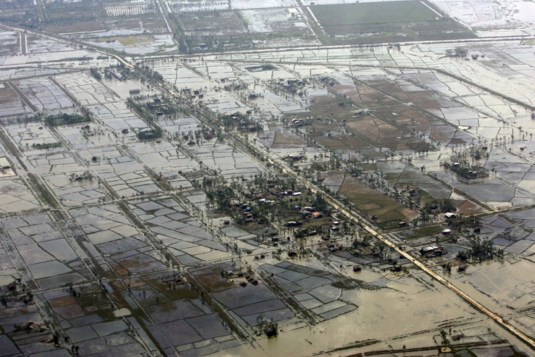 Image: An aerial view of devastation caused by the cyclone Nargis