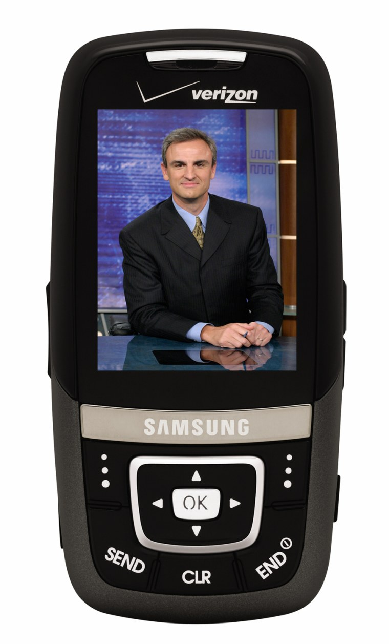 ESPN TV is shown on this Samsung SCH-u620 phone, with Verizon Wireless' V Cast Mobile TV Service, which costs $15 a month.
