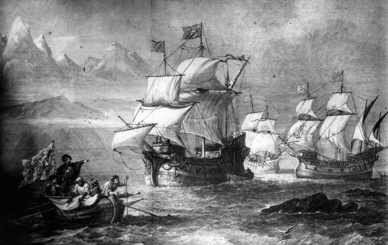 Image: Drawing of Ferdinand Magellan's fleet