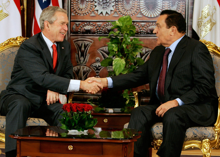US President Bush meets with Egypt's President Mubarak in Sharm el-Sheikh