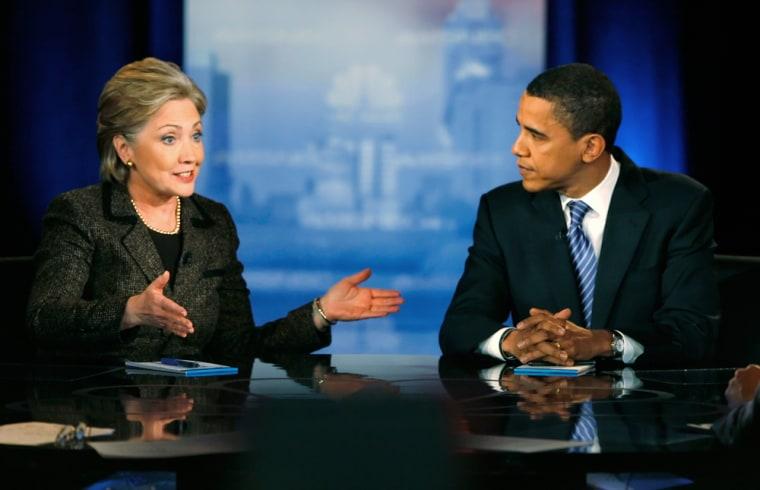 Image: US Democratic presidential candidates Senator Hillary Clinton (D-NY) and Senator Barack Obama (D-IL) square off in the last debate before the Ohio primary in Cleveland