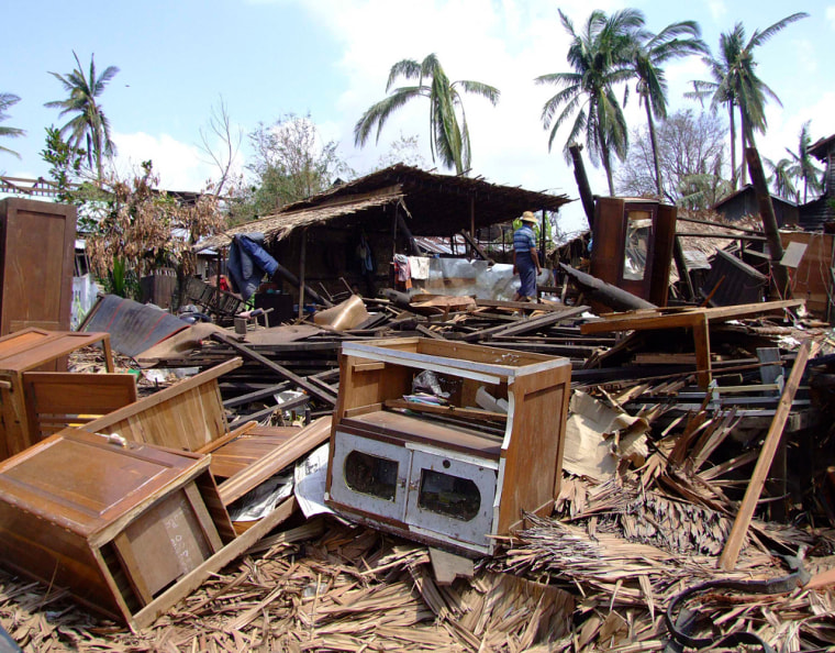 Image: Houses destroyed by Cyclone Nargis in Bogalay, Myanmar