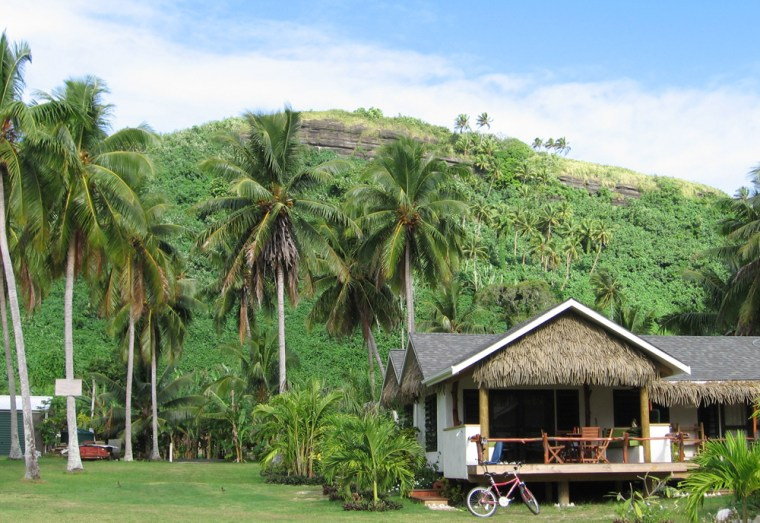 Image: Coconut trees surround beach houses in Aitutaki, Cook Islands