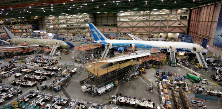 Image: Boeing 787 jets are lined-up nose to tail