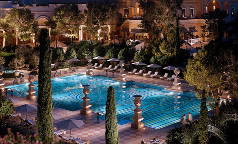Luxury-minded guest might opt for the Bellagio, with its various pools kept at different temperatures. The Tuscan-villa-style complex also features bubbling fountains, huge misting fans, and groves of citrus trees.