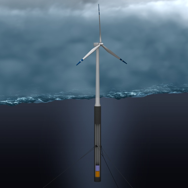 This artist's concept shows the proposed floating wind turbine.