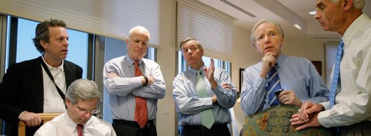 Image: John McCain, Lindsey Graham, Joseph Lieberman. Charlie Crist, Rick Davia, Mark McKinnon