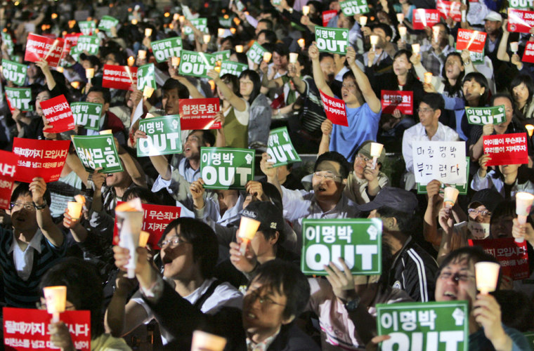 Image: Protesters in Seoul, South Korea