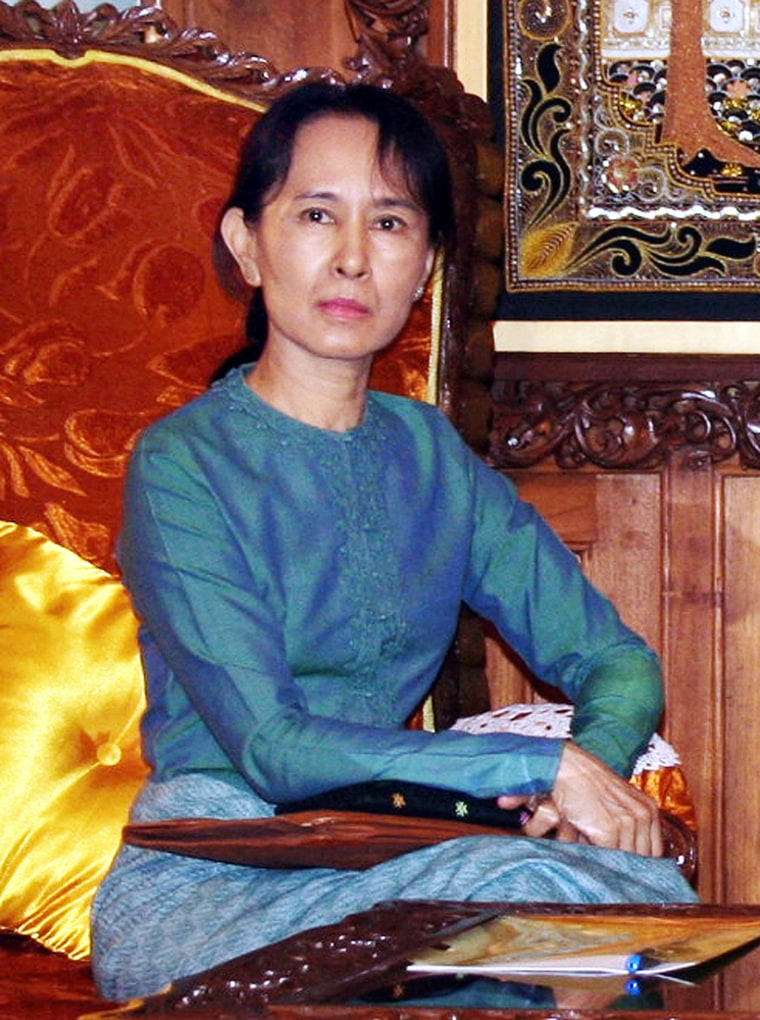 Pro-democracy leader Aung San Suu Kyi, seen at a January meeting with a Myanmar government minister, has beendetainedfor more than 12 of the past 18 years.