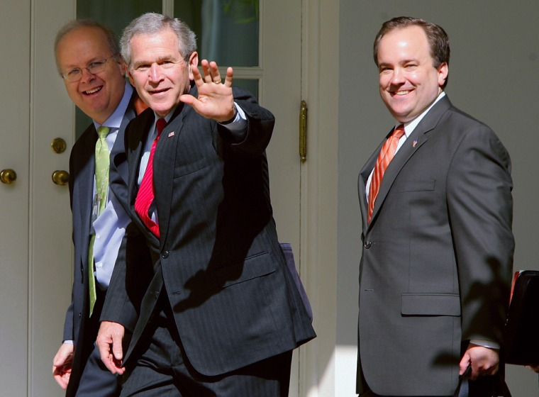 Image: Scott McClellan with President Bush and Karl Rove