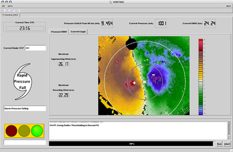 The VORTRAC interface includes a display of winds derived from Doppler radar data (right, with the hurricane center marked with an X), an estimate of the hurricane's central pressure (top), and a warning message that displays if the pressure is dropping rapidly (left).