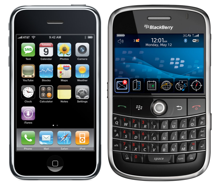 Image: An iPhone and BlackBerry Bold smartphone