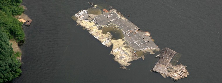 Image: Aerial view of submerged buildings at Tangjiashan Lake in the earthquake-hit Beichuan county