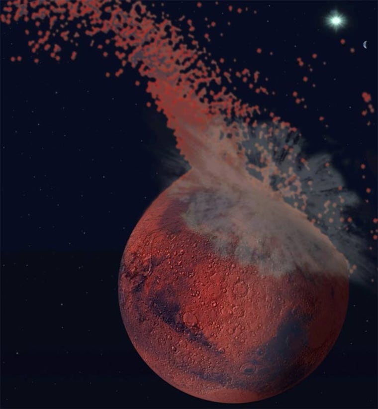 Image: Artistic representation of a giant impact on Mars