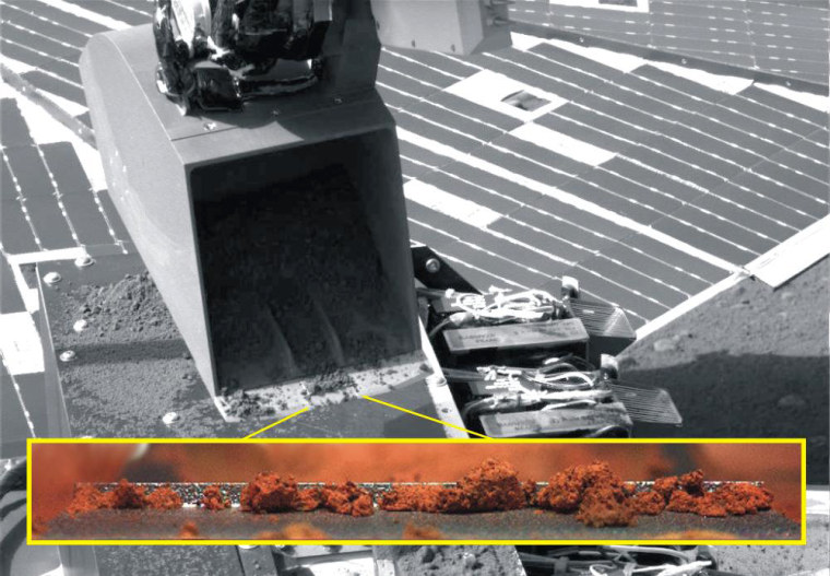 Image: Two views of soil in scoop