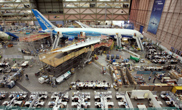 Image: A Boeing 787 is seen as it stands near completion on the assembly line