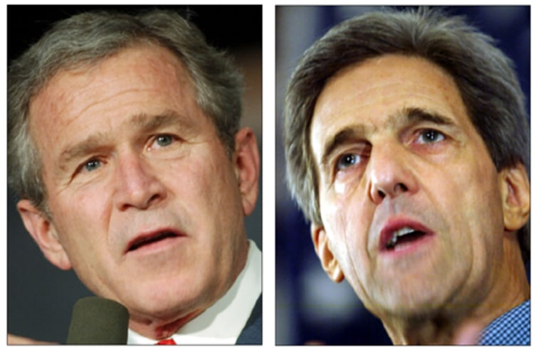 A family tree analysis indicates that President Bush, at left, and his front-running Democratic challenger, John Kerry,are16th cousins, three times removed. Such links aren't all that unusual, genealogy buffs say.