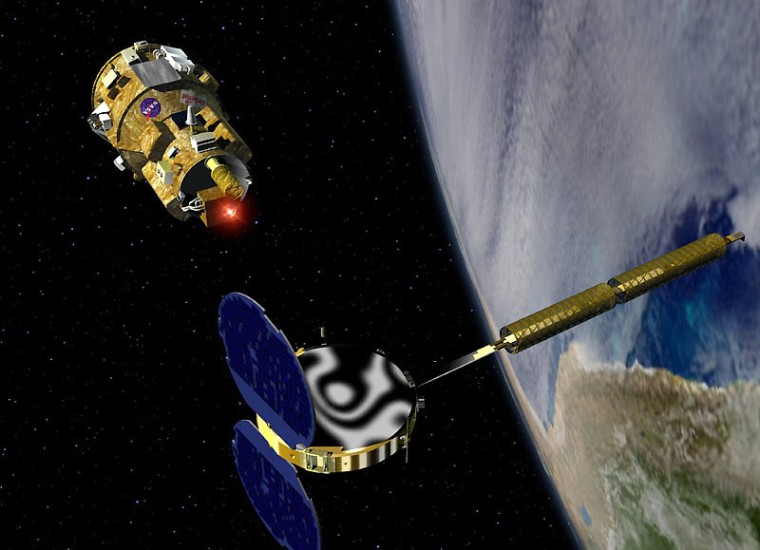 Anartist's conception showsthe DART spacecraft pulling up to the Multiple Beam Beyond Line-of-sight Communication satellite, or MUBLCOMM. During a test, DART actually collided with MUBLCOMM.