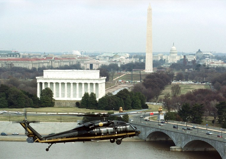 US CUSTOMS BORDER PROTECTION BLACKHAWK HELICOPTER NEAR MONUMENTS IN WASHINGTON