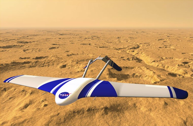An artist's conception shows the Aerial Regional-scale Environmental Survey, or ARES, a plane that was designed for Mars.