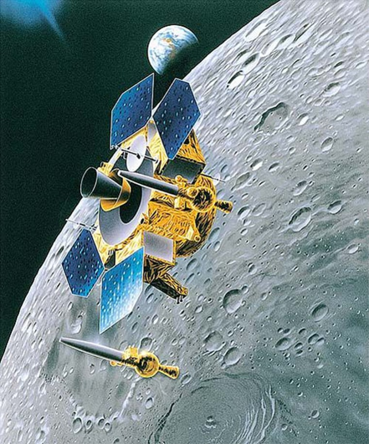 Japan's Lunar-A probe, shown in this artist's conception, would hurl penetrators at the moon to gain scientific insights regarding Earth's celestial neighbor.