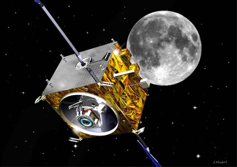 The European Space Agency's SMART-1 probe, launched in September,reaches lunar orbit. This is an artist's conception of the spacecraft in flight.