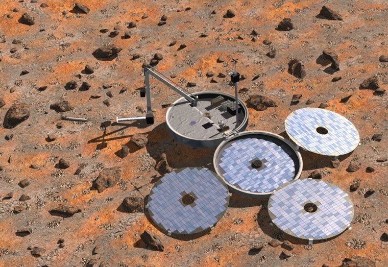 This artist's conception shows the Beagle 2 lander with its solar panels unfolded, its robotic arm at the ready and a burrowing sampler known as the Mole in action.