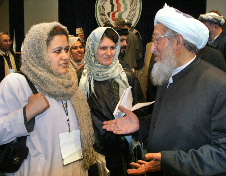 CHAIRMAN OF THE LOYA JIRGA SPEAKS WITH FEMALE DELEGATES IN KABUL